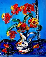 Flowers in Vase Original oil painting Impressionism Abstract Handpainted