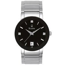 Bulova 96D18 3 Genuine Diamonds S S Black Dial Black Enamel Bezel Watch