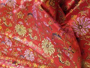 "RARE ASIAN RED BROCADE ORIENTAL GOLD SATIN KIMONO FABRIC 2 YARDS x 58"" WIDE"