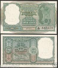 ★★★  5 Rupees H.V.R Iyengar 'A' Inset ~ C5 ~ UNC ~ 6 Deers  ★★★ bb85