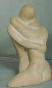 Vintage Mid Century Modern Cast Stone Sculpture Nude Lovers EMBRACE Egon Weiner