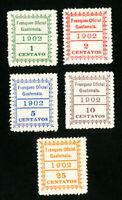 Guatemala Stamps # O1-O5 VF OG LH Set of 5 Scott Value $51.00