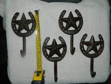 "Set/4 Cast Iron 6 1/4"" Texas Star & Horse Shoe Wall Coat Towel Key Hooks"