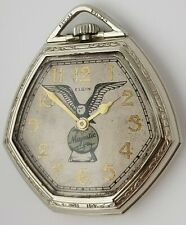 elgin 14k white gold filled manheimer hexagonal case majestic eagle pocket watch