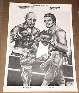 Original MARVELOUS MARVIN HAGLER vs ROBERTO DURAN Boxing Poster 1983 CAESARS