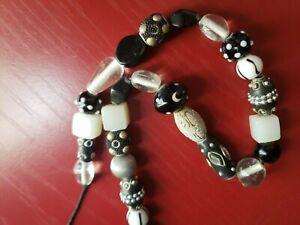 "Venetian Millefiori Black & White Glass Beads Necklace - 26"" long"