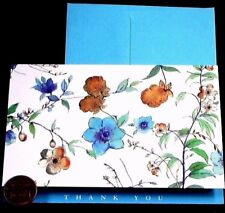 Gorgeous Flowers Thank You *GOLD SHINE*  Small Blank Note Card  NEW
