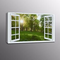 Landscape Wall Art Window Grass Forest Scenery Painting on Canvas Prints Picture