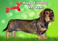 PERSONALISED WIREHAIRED DACHSHUND SAUSAGE DOG BIRTHDAY CARD BLANK INSIDE
