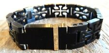 $290 New Saks Fifth Avenue 14K YG & Black Stainless Steel Cross link Bracelet