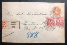 1897 Budapest Hungary Stationery Registered Cover To Hamburg Germany
