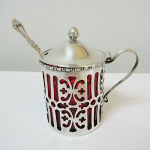 Antique Gorham Sterling Silver Mustard Pot Cranberry Glass Liner with Spoon