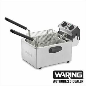Waring WDF75B Deep Fryer 8.5lb Countertop Stainless Fryer 1 Year Warranty