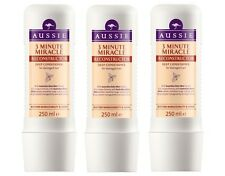 3 X Aussie 3 Minute Miracle RECONSTRUCTOR Deep Conditioner Damaged Hair 250ml