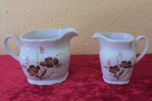 2 braune Blumen Milchkänchen Winterling Röslau Bavaria Porzellan Top Zustand
