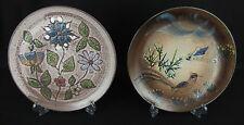 2 assiettes anciennes céramique moderne vallauris / faisan et fleurs