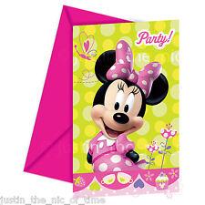 MINNIE MOUSE Girls Birthday Party Invites Envelopes INVITATIONS x6