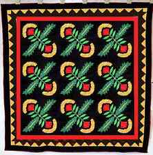 Cox Combe  Hand Applique quilt top, w/ sawtooth borders - QUILT TOP  * On Black