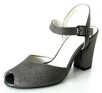 ESCARPINS OUVERTS SANDALES 39 cuir argenté gris acier Nels ONE STEP femme NEUF