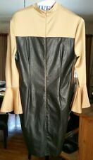 AX Paris Faux Leather and Scuba Top Mini Dress - Size Euro 12 - US 8