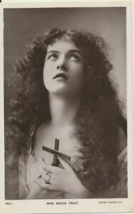 ca1910 Theater Actress MAUDE FEALY Lovely Lady RPPC postcard Crucifix 198J