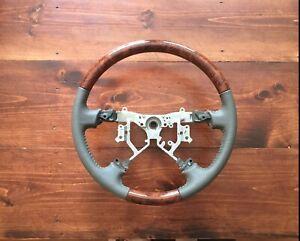 Lexus LX470 GX470 Wood Taupe Perforate Leather Steering Wheel 03 04 05 06 07 08