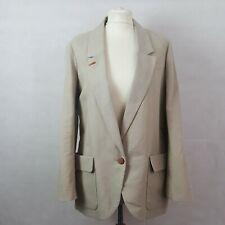 Comptoir Des Cotonniers Womens Jacket Blazer Beige Size 36 Linen Cotton
