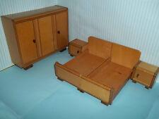 Altes Schlafzimmer, Möbel für Puppenstube, Puppenhaus, ca 1950, Antikspielzeug
