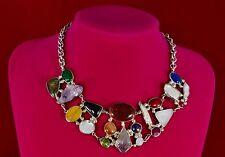 Statement Choker Bib Necklace Genuine Raw  Cabochon Faceted Gemstones Multicolor