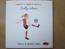 Personalised Handmade Girls Football Birthday Card - 7th 8th 9th 10th Any Age
