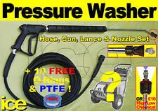 15m COMMERCIAL REPLACEMENT PRESSURE WASHER HOSE TRIGGER GUN LANCE NOZZLE JET SET