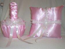 LIGHT PINK SATIN / WHITE LACE TRIM FLOWER GIRL BASKET & RING BEARER PILLOW
