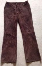 Fabulous Chocolate Brown Real Suede Jean Trousers By Monsoon Size 14 Vgc