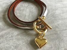 Silver Leather with Golden heart and  toggle bracelet so gorgeous and elegant