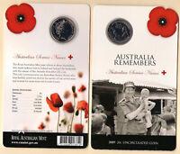 2009 AUSTRALIA REMEMBERS (Australian Service Nurses) 20  CENT COIN & CARD
