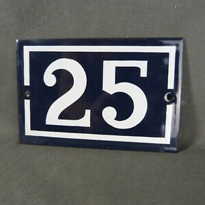 French Vintage Blue Enamel Metal Street Number n°25 Door House Plaque