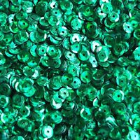 5mm Round Cup Sequins Green Prism Reflective Metallic Paillettes. Made in USA