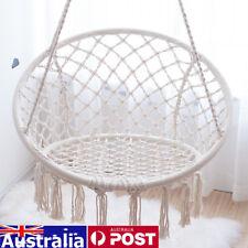 AU Macrame Hammock Chair Swing Relax Garden Comfort Luxury Shabby Beige Cream