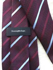 Ermenegildo Zegna Mens Silk Neck Tie Classic Dark Red Striped ITALY EUC !!