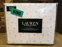*NEW* Ralph Lauren Home King Snowflake 4PC Sheet Set 100% Cotton White Blue