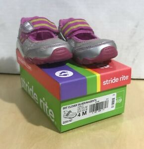 STRIDE RITE Girls pink silver leather 'Clover' shoes size 4M