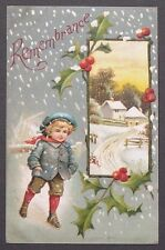 Cute Boy Blue Hat Coat Red Scarf Walking in Snow Christmas Remembrance udb 1907