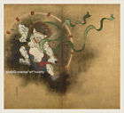 Japanese old screen painting Heavy color Mythical Figure Thunder God Big Size