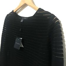 NEW St John Womens Black Sweater with Sheer Stripes NWT Size Petite - MSRP $700
