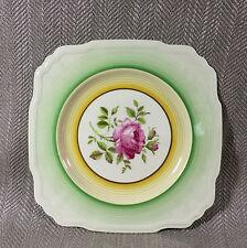 Art Deco Cake Plate Square Sandwich Platter Vintage Green Pink Rose Flower