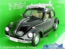VW VOLKSWAGEN BEETLE MODEL CAR 1:24 SCALE BLACK SURF WELLY OPENING PARTS LARGE K