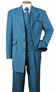 """New Men's High Fashion Zoot Suit With Vest Two Side Vents 35"""" Length Turquoise"""