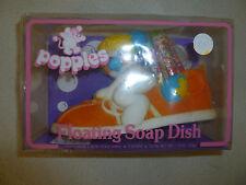 NEW SEALED NIB NISB POPPLES VINYL FLOATING SOAP DISH + 3 SOAPS VINTAGE 1986 RARE