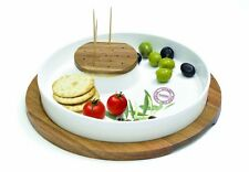 EasyLife Serving Dish With Porcelain Plate, Cocktail Pick Holder On Acacia Tray