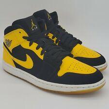 Nike Air Jordan Retro 1 OG Mid New Love Size 10 Black Yellow White 554724 035